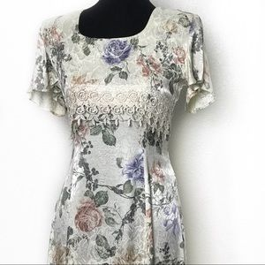 Vintage Floral Midi Dress Sz 9/10